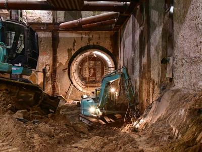 Dismantling of the tunnels at underground station Museumsinsel